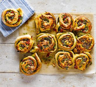 Cheese & pesto whirls -  made with a chili/cheese filling instead. Recipe does not specify to add salt to the dough, but you really should!