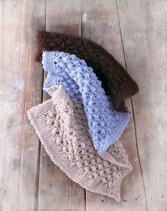 Hand Knit Baby Blanket Blue Blanket Beige by GabriCollection