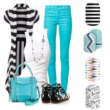 Spring Summer 2016 Fashion Jamberry DIY Nail Art Black & White Stripe Island Groove Circus Tent Word to the Wise