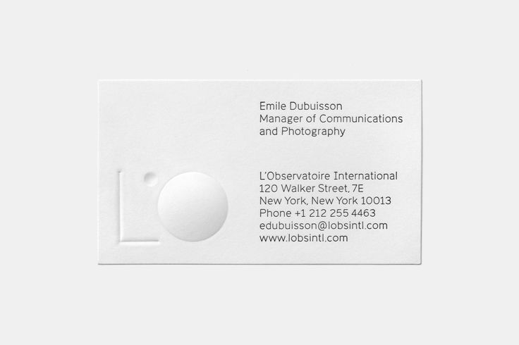 Logo and emboss and deboss business card for New York lighting specialists L'Observatoire International by New York based design studio Triboro