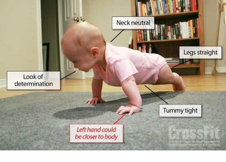 Cute baby exercise: baby push up