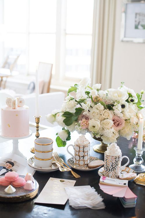 Gorgeous blush & white office of luxury wedding planner