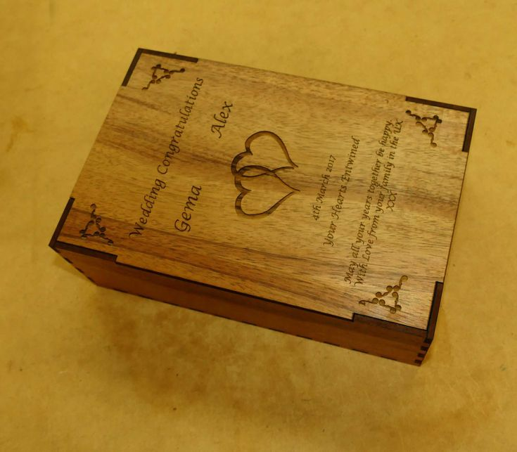Wine glass pair engraved in custom wooden box Choose timber and what you wish to say on glasses and box