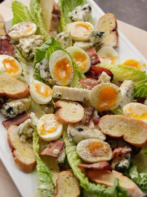 Ina Garten's ~ Deconstructed  Caesar Salad with Blue Cheese and Bacon Recipe from Food Network ( I would break up romaine, but follow rest of recipe).