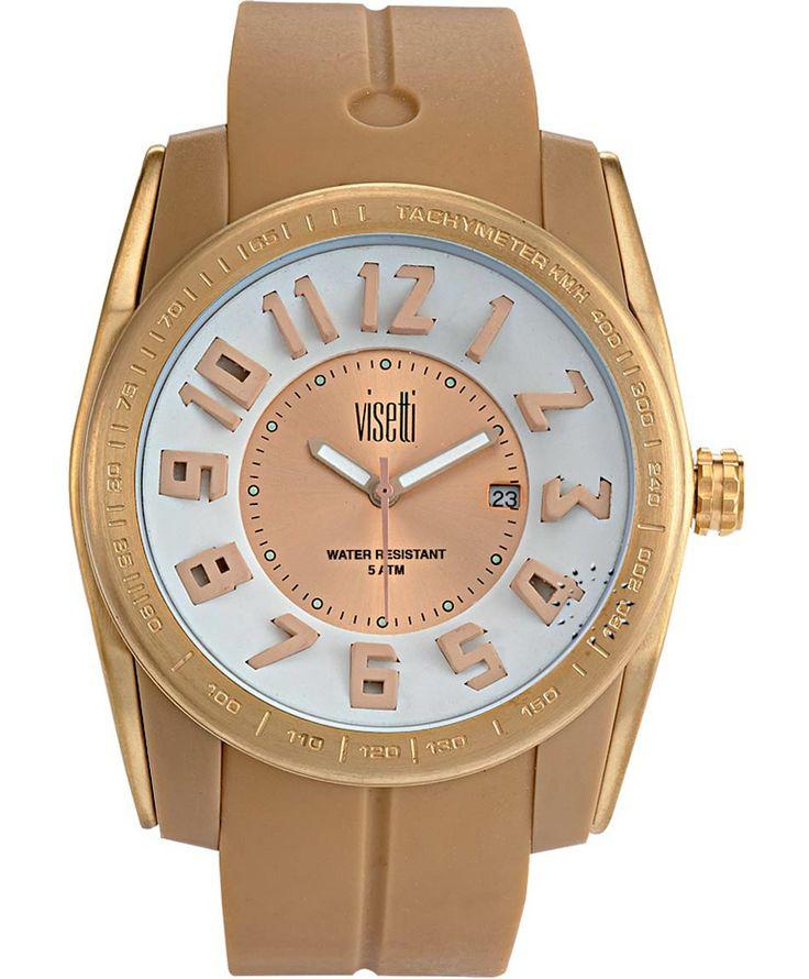 VISETTI Bolero Gold Beige Rubber Strap Μοντέλο: FC-751GS Τιμή: 55€ http://www.oroloi.gr/product_info.php?products_id=39473