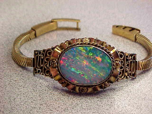 Unique Large Phenominal Art Deco Opal Bracelet 9ct Gold  6.5 inch   Make Offer