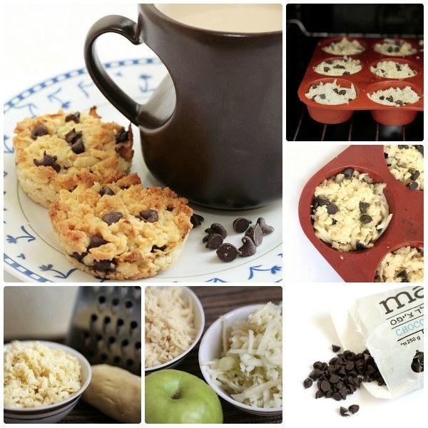 тертые пирожные с яблоками и шоколадными чипсами