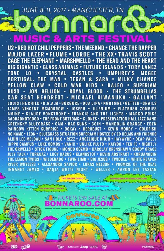 U2 RHCP Chance The Rapper: Bonnaroo Music and Arts Festival Announces 2017 Lineup