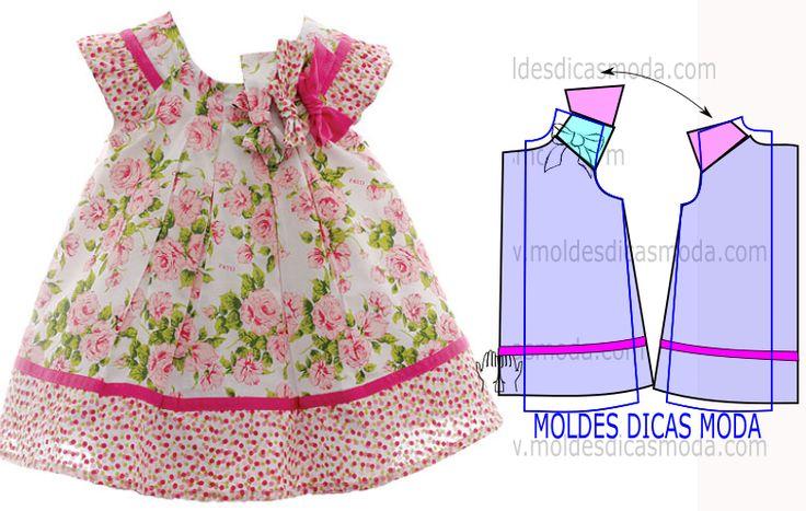 É importante analisar atentamente o desenho do molde vestido infantil floral para entender a leitura da transformação de forma correta.