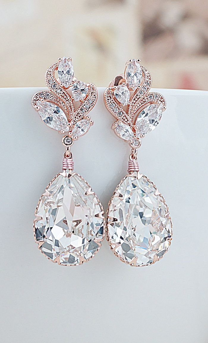 Luxury Cubic Zirconia Floral Ear Posts With Swarovski Crystal Drop Earrings  Rose Gold Earringsswarovski Crystal Earringsbridal