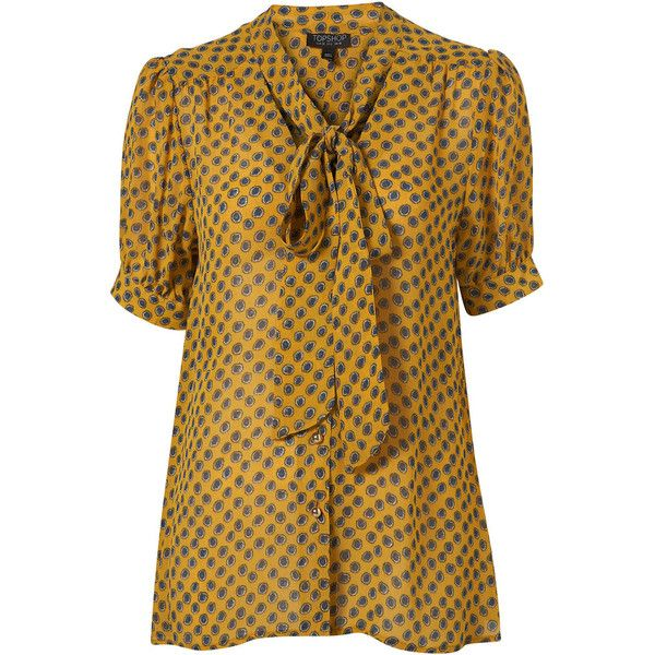 Yellow Spot Pussybow Short Sleeve Blouse (1,400 MXN) ❤ liked on Polyvore featuring tops, blouses, shirts, blusas, women, yellow blouse, shirt blouse, pussy bow blouses, yellow shirt and short sleeve blouse