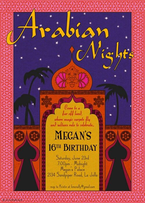 45 best images about Arabian Nights Party Invitations and Ideas on – Arabian Nights Party Invitations