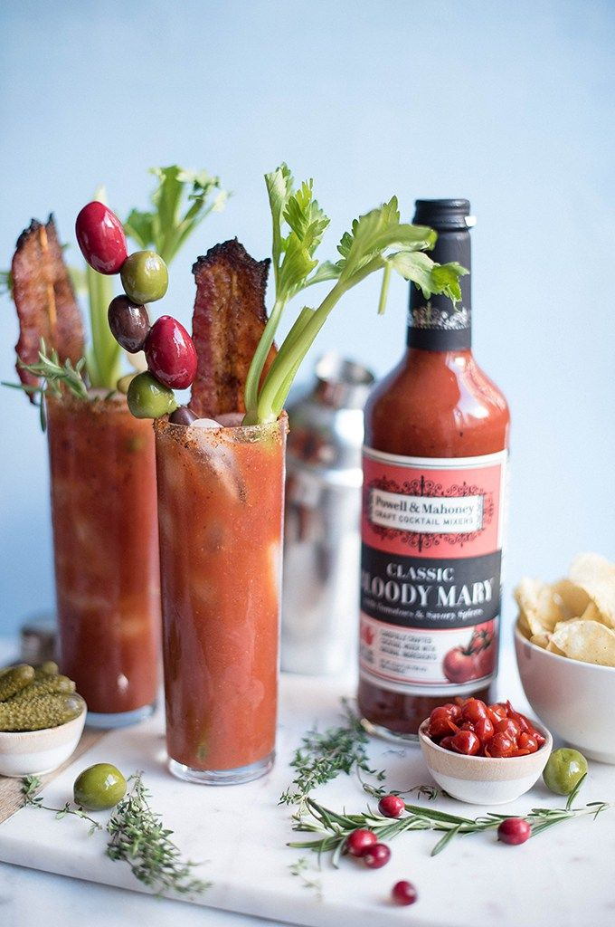 bloody mary with Korean style candied bacon | superman cooks @powellmahoney #craftyourcocktail #bettertogether #powellandmahoney