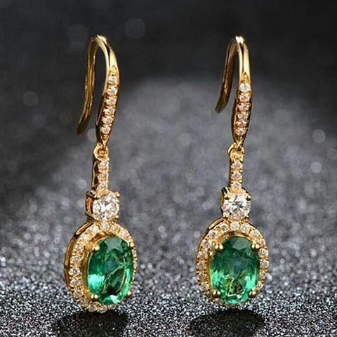 "29 Likes, 3 Comments - Suma Boutique (@sumagemboutique) on Instagram: ""2.61 Carats Natural Emerald with  Diamond 18K Solid Yellow Gold Fine Earring  Main Stone : Stone…"""