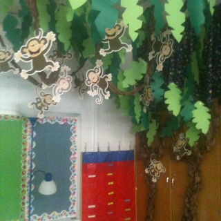 Jungle theme classroom decor.