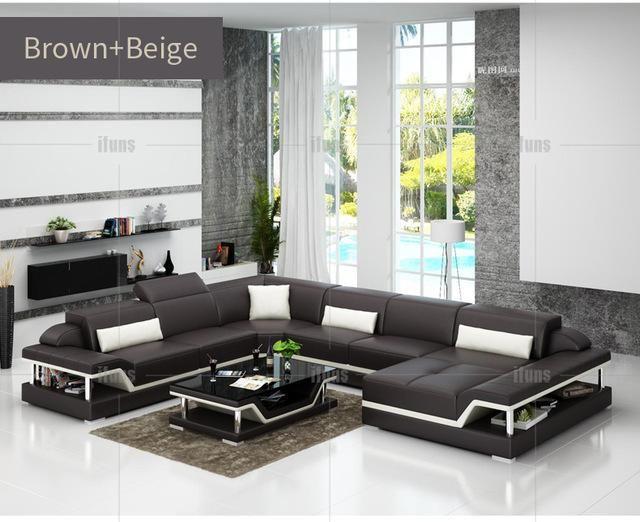 Ifuns U Shaped Black Genuine Leather Modern Sectional Sofa Top