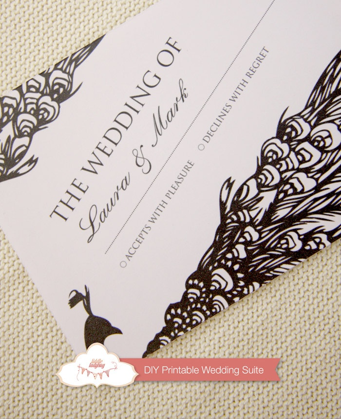 invitation letter for us vissample wedding%0A Items similar to Peacock Wedding Invitation  Black And White Wedding  Invitation  Printable Wedding Invitation on Etsy