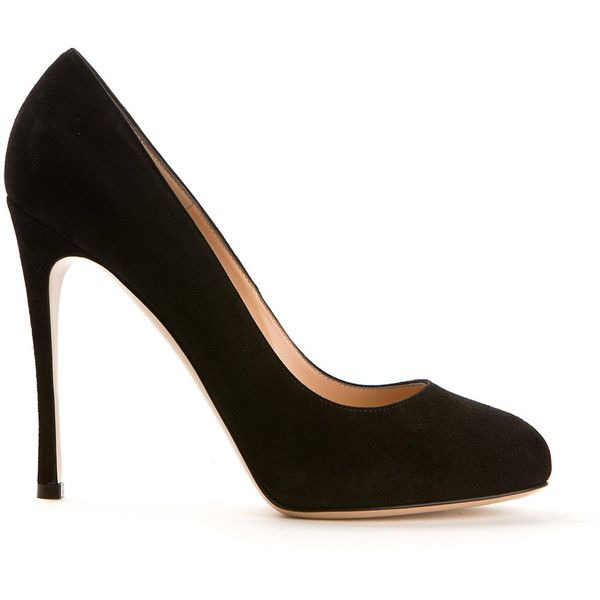 Gianvito Rossi Black Suede Pumps ($545) ❤ liked on Polyvore featuring shoes, pumps, heels, round cap, black high heel shoes, black suede shoes, leather sole shoes and heels & pumps