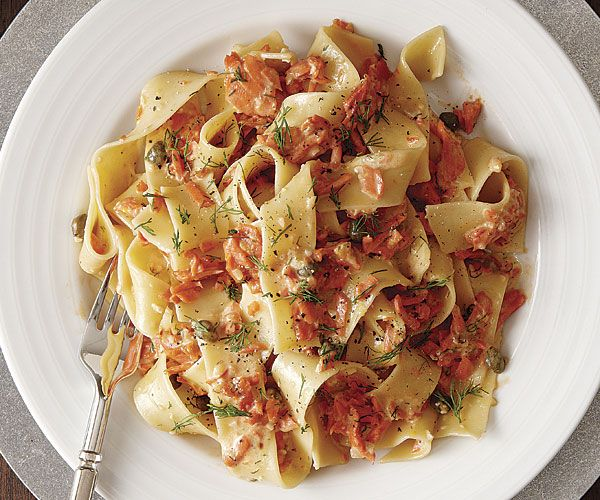Pappardelle with Creamy Smoked Salmon, Caper, and Dill Sauce recipe