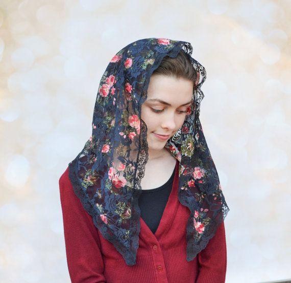 Traditional Catholic Black Rose Bouquet Chapel Veil by RobinNestLane on Etsy