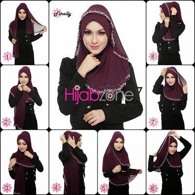 Hijabzone7 - Tudung or Hijab Online Malaysia: Tutorial Halfmoon Shawl Candy Pearls. (Gaya Hijab ke Majlis)