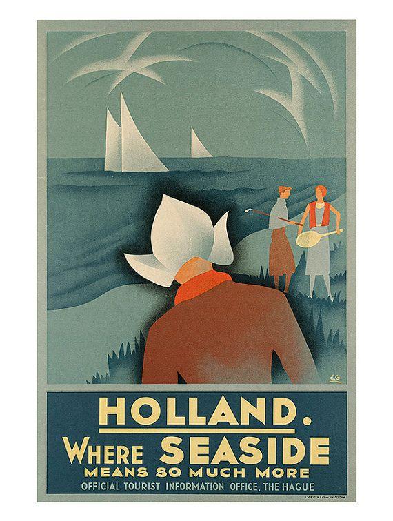 HOLLAND Travel Poster NETHERLANDS Poster Dutch by ArtDecoGallery