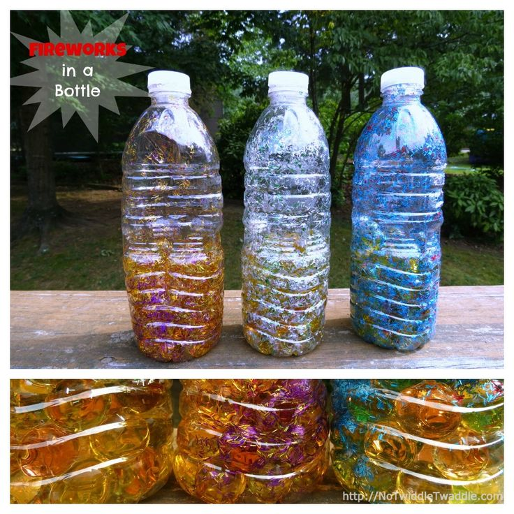 water beads + glitter = awesome sensory bottle. It looks just like fireworks and even sparkles in low light.