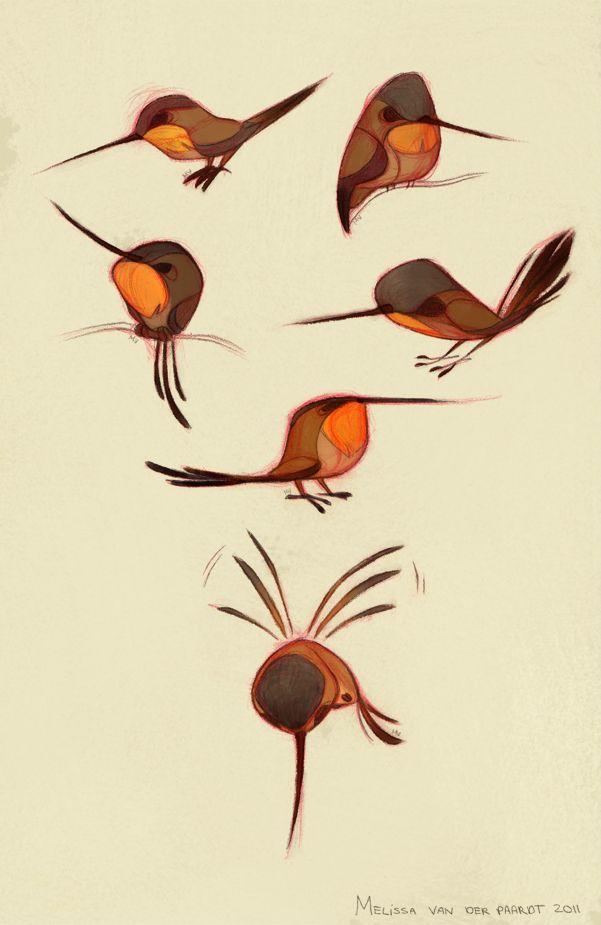 Sketchin Thoughts: The Art of Melissa van der Paardt: Rufous Hummingbirds