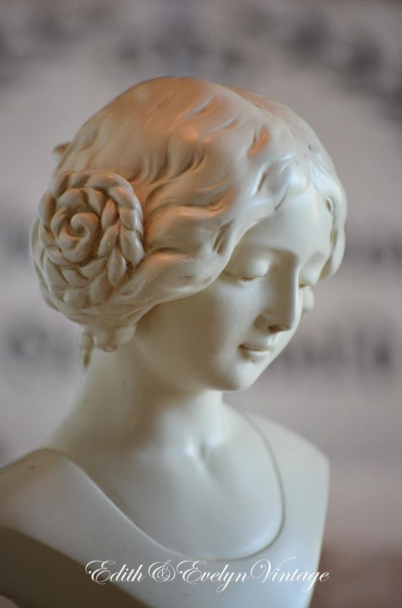 Vintage French Girl Bust White by edithandevelyn on Etsy