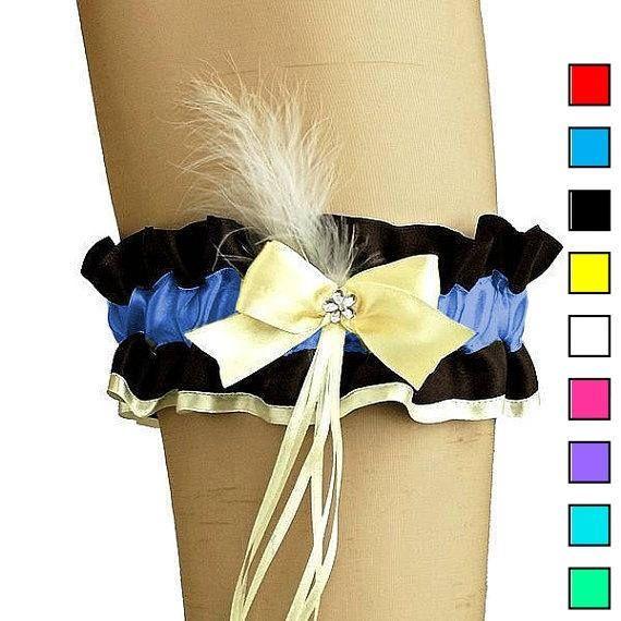 Bridal wedding garter blue black garter burlesque style