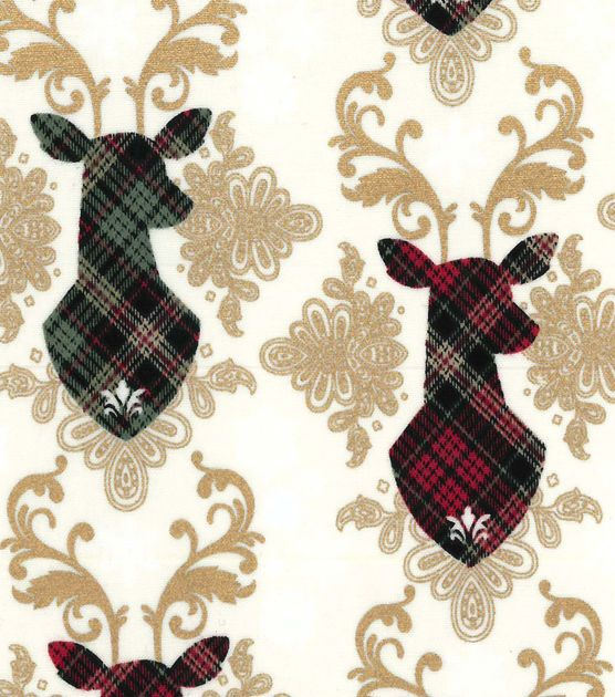 Christmas Cotton Fabric-Reindeer Heads Plaid Met