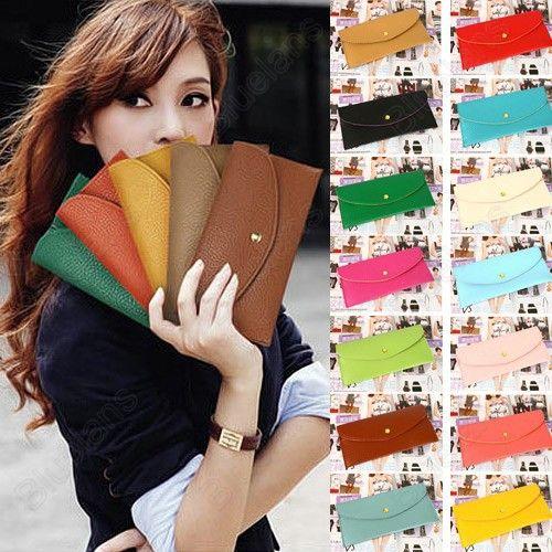 Fahion Women's Wallet Slim Card Package Clutch Handbag Long Wallet Purse Korean Style 12 Colors Free Shipping $5.16