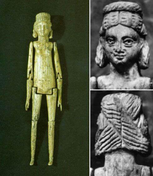 This finely carved ivory doll with moveable arms and legs was found in the grave of a girl approximately five years of age in Tarragona, Spain, a port city south of Barcelona. It dates to the 3rd or 4th century CE. The unusual presence of the doll may indicate that the child was especially dear to her family, or very attached to the doll in life. Museu Nacional Arquelogic de Tarragona (Spain)