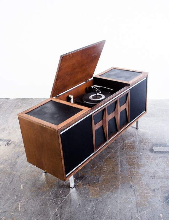 Mid Century Modern Stereo Console Record Player Radio Vintage Danish Airline Magnavox Zenith General Electric Grundig Wards FREE SHIPPING  Spotted this and couldn't resist saving it... what a beauty!