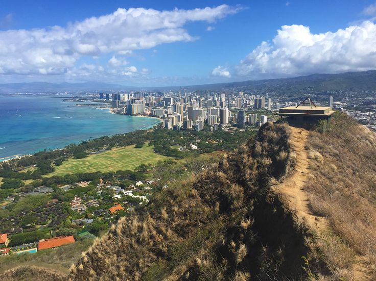 DIAMOND HEAD SUMMIT . . .  The view of Waikiki Beach from atop Diamond Head Crater trail