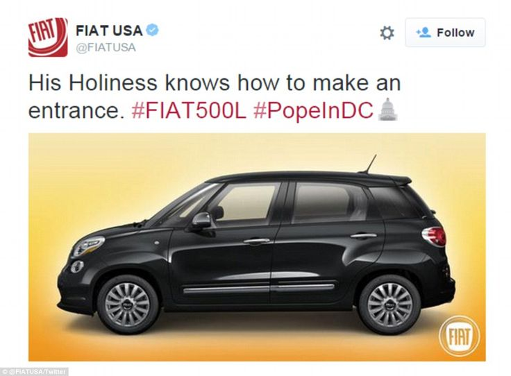 Pope Francis' modest Fiat 500 is dwarfed by giant security vehicles
