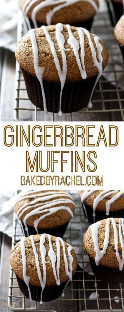 Moist gingerbread muffins with a sweet vanilla glaze. Recipe from @bakedbyrachel #gingerbread #muffin #christmas #recipe