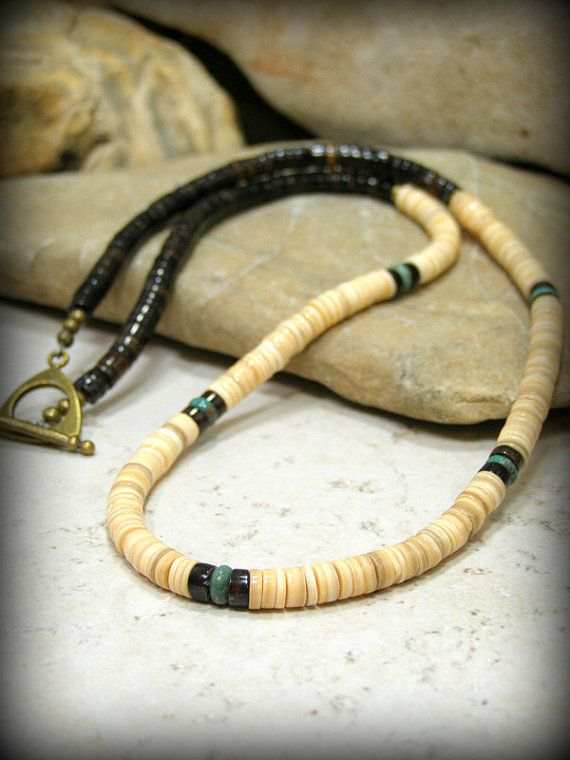 Mens Beaded Necklace, Tribal Turquoise Necklace, Mens Heishi Necklace by StoneWearDesigns