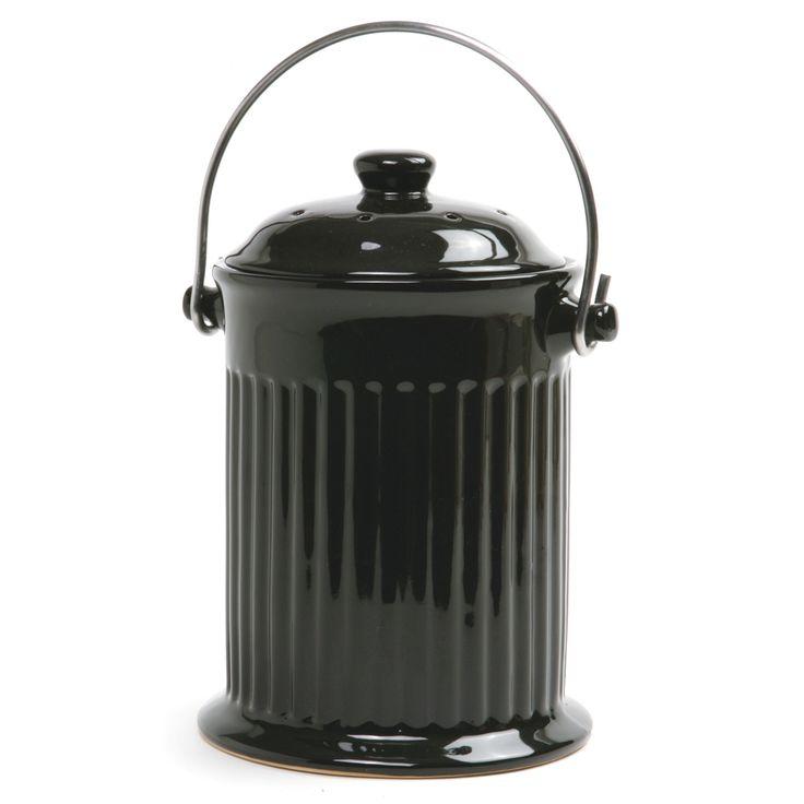 Norpro Ceramic Compost Keeper, Black
