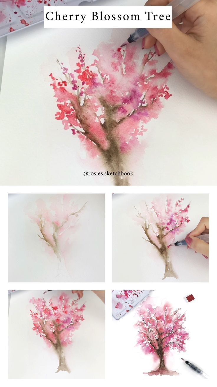 Cherry Blossom Tree Tutorial Watercolor Art Watercolor