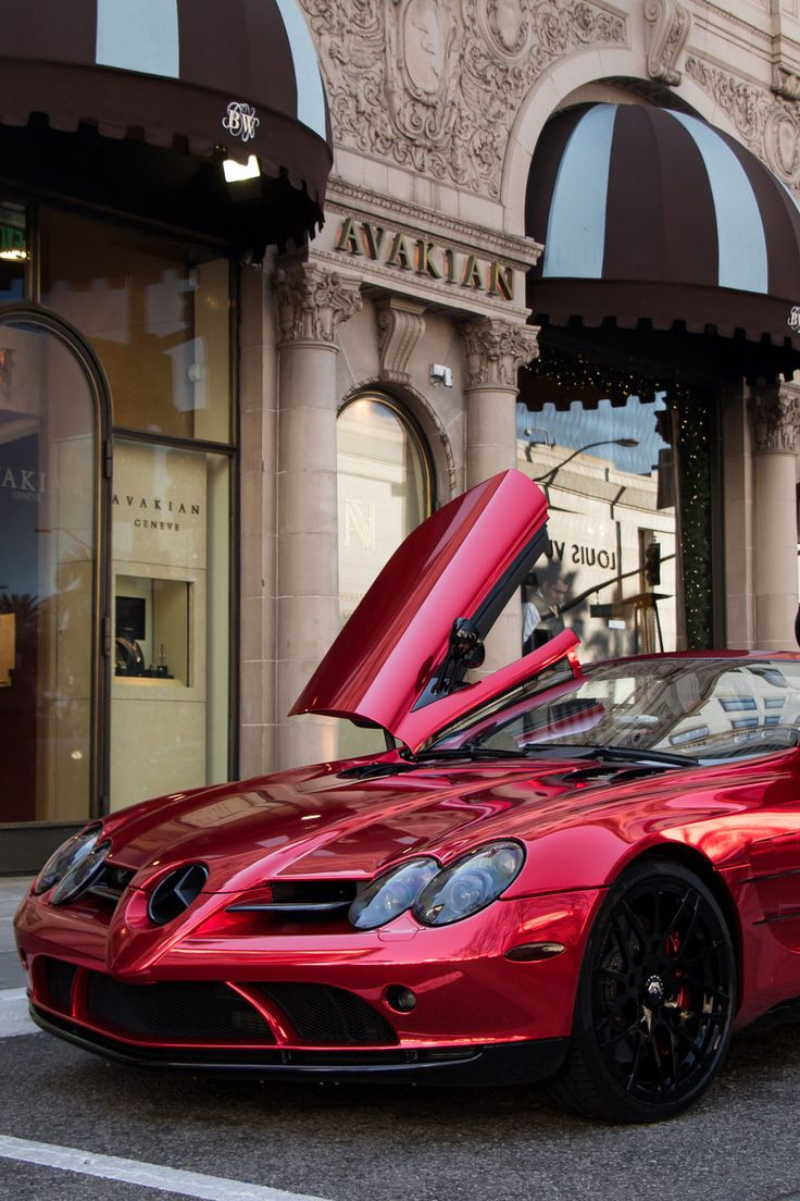 Red car with flames of fire hdr creme - Mercedes Slr Mclaren In Chromed Red