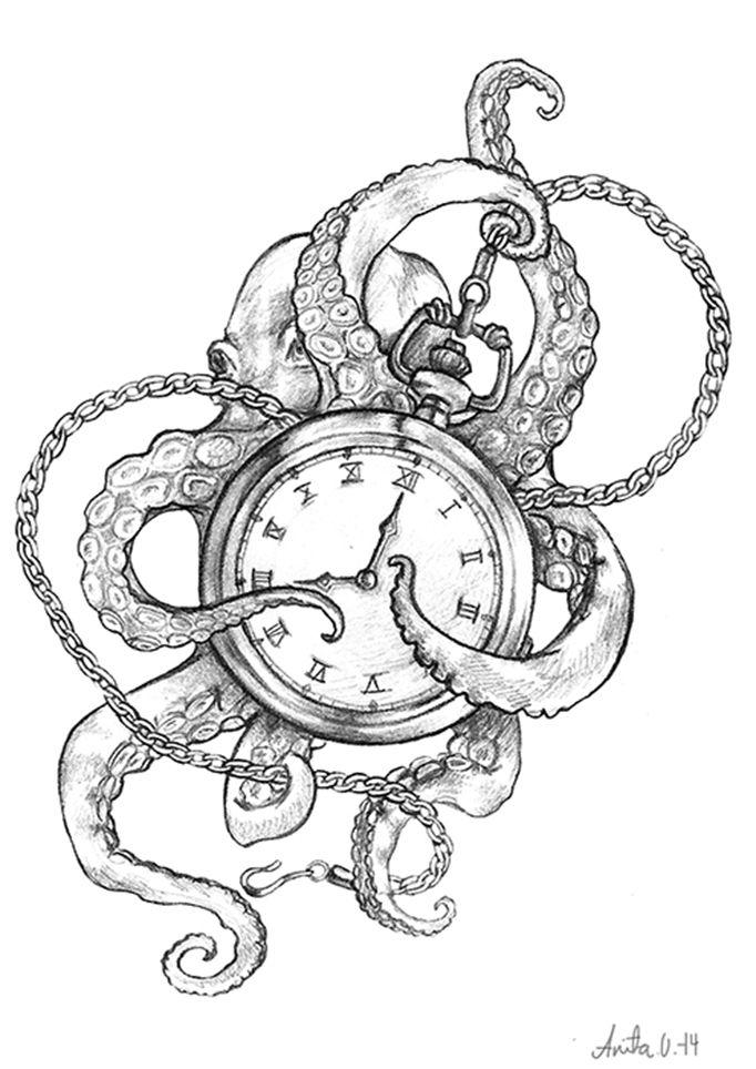 A personal pencil piece of an octopus and a pocket watch. Copyright belongs to Anita K. Olsen Støbakk/Anita K. Olsen Illustrasjon. Please do not use without explicit permission from the artist!