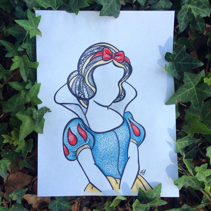 Snow white zentangle