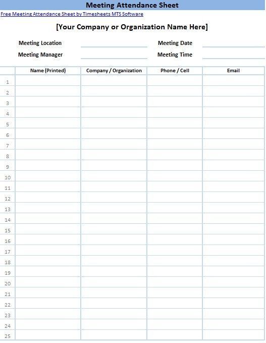 10+ Attendance List Templates Free Printable Word  Excel Formats