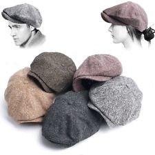 New Tweed Flat Ivy Cap Gatsby Irish Cabbie Mens Womens Newsboy Hat Black Brown