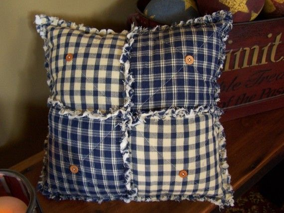 Rustic Blue Pillow, Primitive Country Blue Homespun, Rag Style with Buttons, Farmhouse Pillow, Fully Stuffed, Handmade in NJd