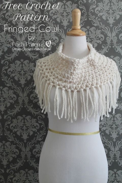 Free crochet pattern - Easy fringed cowl, by Posh Patterns. Made with @lionbrandyarn Wool Ease Thick & Quick.