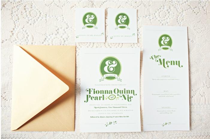 Green,Gold and White Wedding invitation suite by @kirsten bingham Rebecca Hansen Weddings.