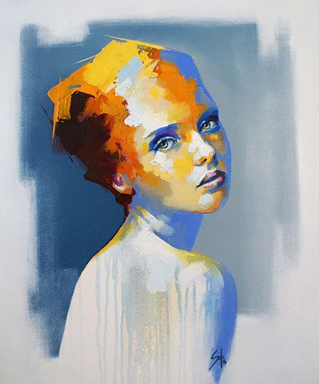 """""""miramiento"""" by Solly Smook. Abstract portrait painting of young woman. colors only for face and hair - orange-yellow-red plus blue and white."""