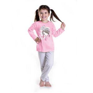 De Taro Mia 1005 kinderpyjama van Corazonkids roze met opdruk en gestreepte broek. Bij de Taro kinderpyjama van CorazonKids is de broek opdruk met een gestreep motieven. De top heeft een leuke opdruk de Taro kinderpyjama van CorazonKids is van goede kwaliteit.